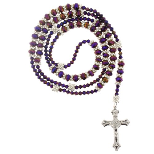 Purple Rhinestone Crystal Rosary With Faceted Rondell Beads In 8x6mm, Bicone Beads And Metal Spacers -32