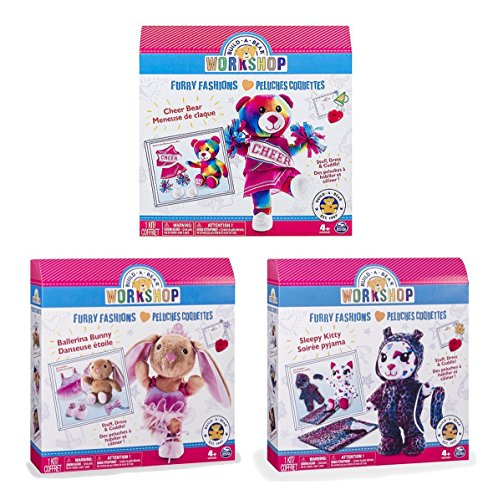 Build-A-Bear Stuffing Station Refill and Accessory Sets Workshop Kit - Furry Fashions - Sleepy Kitty - Ballerina - Cheer Bear 3 Pack Bundle (Build A Bear Bundle compare prices)