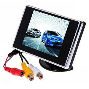 Rétroviseur avec Ecran TFT LCD 3,5'' (8,9 cm) pour Voiture Noir