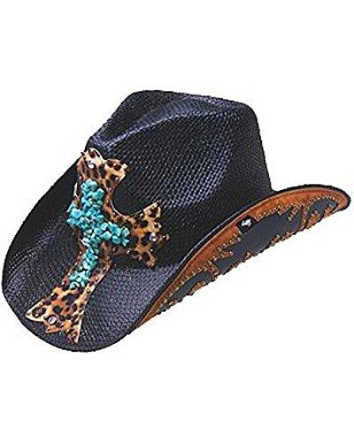 [Peter Grimm Ltd Women's Zeke Leopard Print Cross Straw Cowgirl Hat Black One Size] (Leopard Cowboy Hat)