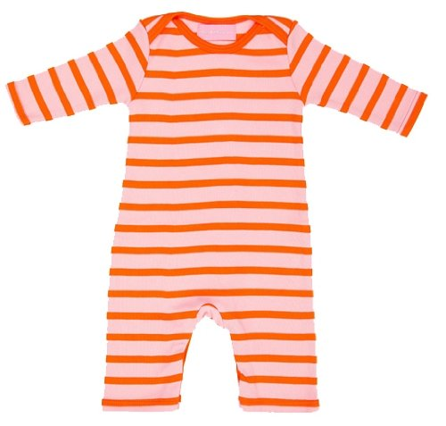 Bob and Blossom Baby Girls Pink and Orange Breton Striped Sleepsuit Romper Suit