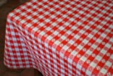 "Blue Hill, 52""x90""; Classic Red Tavern Check, Flannel Backed, Vinyl Tablecloth; ""Made in the U.S.A"""