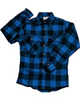 Extra Heavyweight Brawny Plaid Flannel Shirt (Blue)