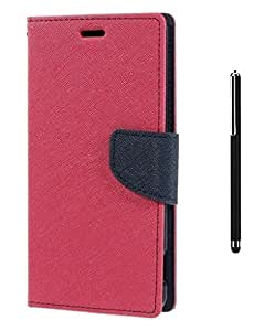 Online Street Royal Diary Flip Cover With Stylus Pen For Samsung Galaxy A8 - (BRIGHT PINK + STYLUS)