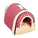 ペットハウス ドーム型 猫犬 室内用 中敷き付き 折りたたみ式 ペットベッド 5種類 S,M,Lサイズ【Justgreat】 (M 45x35x35cm, ピンク-ポルカドット)