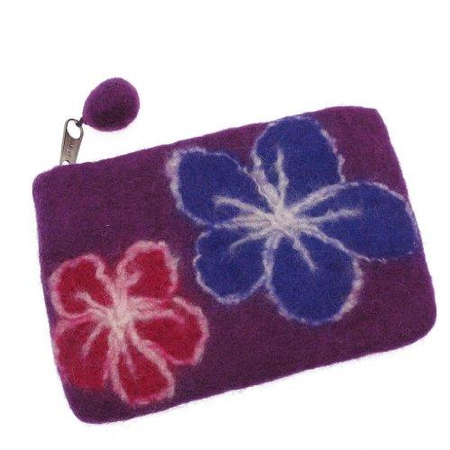 Felted Flower Purse 150 x 100mm - Purple