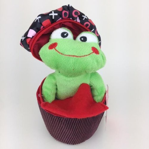 Frog in Cupcake Valentines Day Plush Gift Card Holder