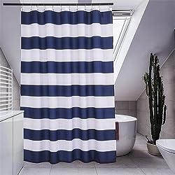 New Blue Strip Polyester Shower Curtain Fabric Curtain For The Bathroom Modern Bath Screen Shower Room Product blue W178xH180cm