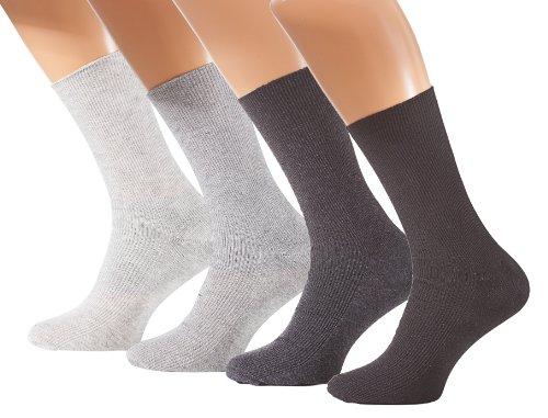8 Paar Herren Diabetiker Socken, Ohne Gummibund, Baumwolle, Spitze handgekettelt, Gr. 39-42