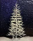7 ft Winter White Twig Tree with LED Lights: Indoor/Outdoor Frosty Glitter Pre-lit Christmas Tree, Free Extended Warranty, Free Music CD, and Free Greeting Card Sampler