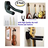 Top Stage Set of 2 Guitar Hangers Hook Holder Wall Mount Display -w/Mounting Hardware TopStage