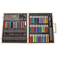 Darice ArtyFacts Portable Art Studio, 131-Piece Deluxe Art Set With Wood Case