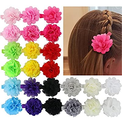 Chiffon 2in Multilayer Chiffon Silk Artificial Flowers Top Petti Skirt Flowers Clips Set Of 24 Colors