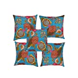 Rajrang Blue Cotton 0 Cushion Cover Set Of 5 Pcs #Ccs06655