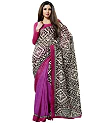 Prafful Silk Bhagalpuri Printed Saree With Unstitched Blouse - B00KNUGA5G