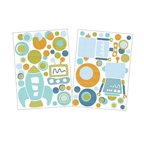 Lolli Living Baby Bot Wall Decals On The Go, Blue/Green/Orange