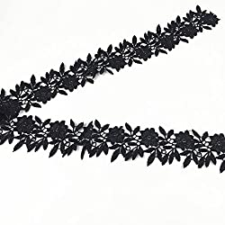 Imported 3Yard Embroidered Floral Lace Trim Applique Sewing DIY Craft Black 5cm
