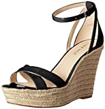 Nine West Womens Joker Synthetic Wedge Sandal, Black, 7.5 M US