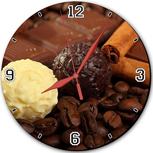 """Coffee Beans Tasty White Black Chocolate Punktail'S Collections 10"""" Quartz Plastic Wall Round Clock Customized Made To Order"""