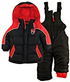 iXtreme Baby Boys Color Block Two Piece Snowsuit Puffer Jacket Ski Bib Pant Set, Black, 18 Months