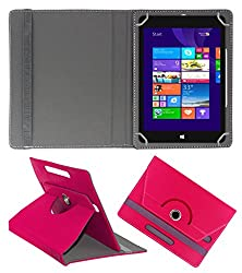 ACM ROTATING 360° LEATHER FLIP CASE FOR NOTION INK CAIN 8 TABLET STAND COVER HOLDER DARK PINK
