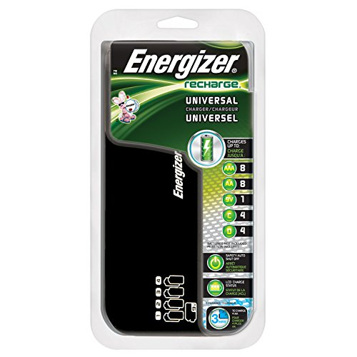 Energizer Recharge Universal Charger charges 8 AA/AAA, 4 C/D or 1 9V NiMH Batteries (Batteries Recharge compare prices)