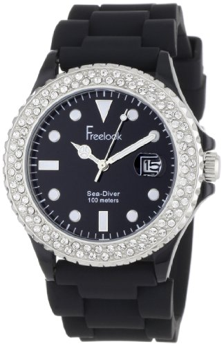 Freelook Women's HA1433-1C Sea Diver Jelly Black with Crystal Bezel Watch