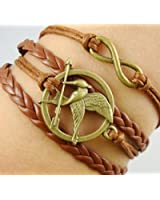 Fashion Vintage Hunger Games Birds Infinity Bracelet Leather