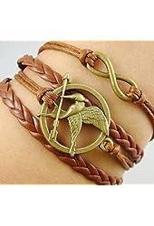 Fashion Vintage Hunger Games Birds Infinity Bracelet Leather