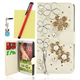 Ancerson Golden White Silvery Pearls Flowers Tassel Elegant Eye-catching New Ultra Hot Sale Stylish Modern Lady Phone Sleeve Luxury 3D DIY Shining Glitter Crystal Diamond Rhinestones Magnetic Magnet Buckle Built-in Credit/ ID Card Wallet Purse Slot Pocket Slim PU Leather Protective Flip Folio Stand Case Cover Pouch Shell Skin for LG G2 Sprint LS980/ AT&T D800/ T-Mobiler D801 【Doesn't fit for Verizon VS980】Free with a Red Stylus Touchscreen Pen, a 3.5mm Universal Crystal Diamond Rhinestones Bling Lovely Silvery Flower Blue Panda Pendant Dust Plug Earphone Jack and a Cleaning Cloth (White PU Case)