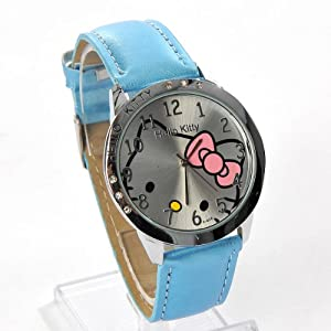 Hello Kitty Large Round Face Quartz Wristwatch Faux Leather Band Blue