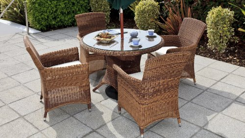 Cozy Bay® Panama 4-Seater Rattan Furniture Java Honey Garden Conservatory Dining Set