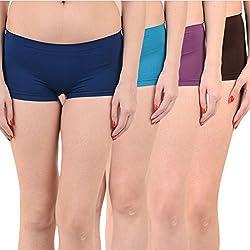 Mynte Women's Sports Shorts (MEWIWCMBP-SHR-105-104-103-100, Navy Blue, Blue, Purple, Black, , Free Size, Pack of 4)