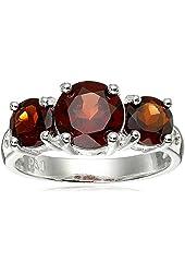 Sterling Silver Three-Stone Garnet Ring