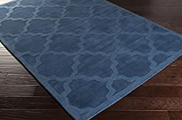 Blue Rug French Country 4-Foot x 6-Foot Wool Handmade Trellis