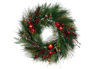 "24"" Artificial Pomegranate, Cranberry and Pine Cone Christmas Wreath - Unlit"