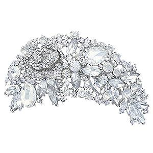 Bride Hair Comb Rose Flower Floral Clear Austrian Crystal Silver-Tone N04547-1