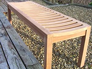 Solid Teak Sustainable Backless Garden / Patio Bench  4