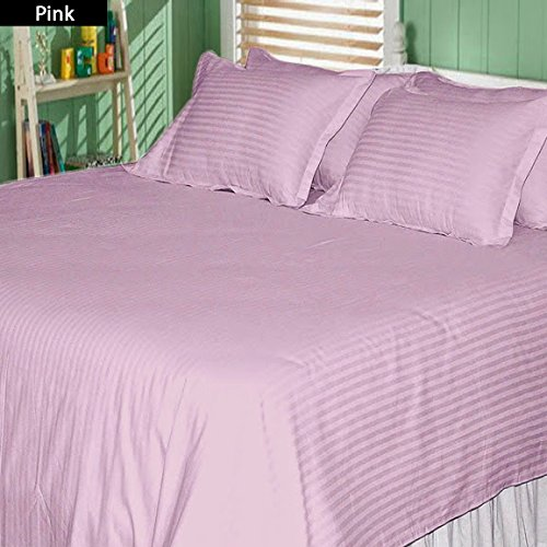 400-Thread-Count Pure Egyptian Cotton Super Soft 1 Pc Flat Sheet/Top Sheet California King/ Western King Stripe Baby Pink/Soft Pink With Wholesale Price