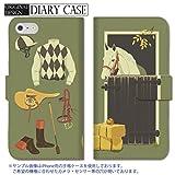 301-sanmaruichi- iPhone6s ケース iPhone6 ケース 手帳型 おしゃれ 乗馬 競馬 馬 グリーン 手帳ケース