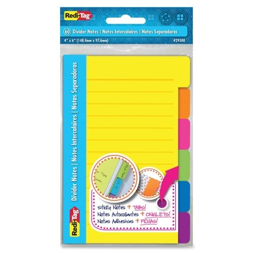Redi-Tag 4x6 Sticky Ruled Divider Notes - Self-adhesive, Removable, Repositionable - 4 x 6 - Assorted - 60 / Pack парафин oneball x wax 5 pack assorted