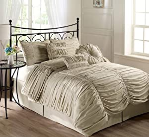 Chezmoi Collection 7 Piece Chic Ruched Taupe Duvet Cover Set Queen Size With Throw Pillows Duvet Cover For Insert Queen Quilts Makeup