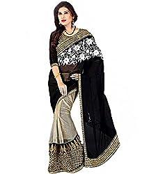 Drapme half & half embroidered saree with blouse piece.