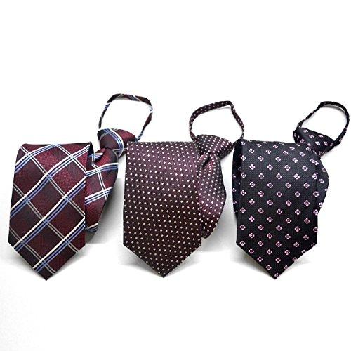 (スミスアンドスコット) Smith & Scott ジャガード織 ワンタッチ シルク ネクタイ 3本セット レッドチェック柄×ボルドー小紋柄×ブラック小紋柄