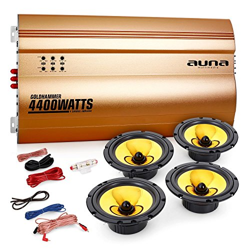 Auna-40-Car-Hifi-Set-Golden-Race-V6-2-Autoboxen-Lautsprecher-Paare-mit-4400W-4-Kanal-Auto-Endstufe-4x-165cm-600W-EinbaulautsprecherVerstrker-brckbar-432-Kanal-Betrieb-inkl-Kabelset-gold