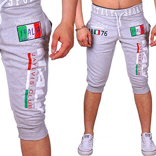 Pantaloncini corti bermuda per l' estate | pantaloni di cotone con tasche | pantaloni da jogging per uomo corta leggera, fino a XXXL | Design italiano | dreiviertel Sport Pantaloni BM/1120 Grau XXXL-Sottile