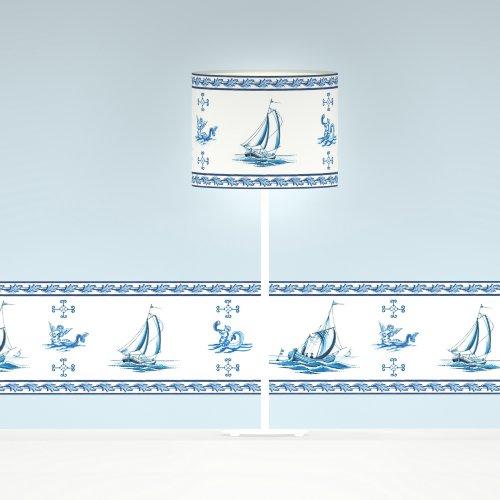 GMM blaue Tischleuchte H: 46cm handgefertigter Schirm mit Segelboot Dekor ø20cm H: 15,5cm, weißer Fuß