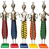 Saarthi Rajasthani Unique Traditional Iron Handicraft Metal Musician Dolls 20 Inch Set Decorative Gift Item Home / Table / Wall Decor Showpiece / Figurine (Set Of 5)