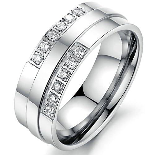 (キチシュウ)Aooazジュエリー メンズステンレスリング指輪 白いCZダイヤモンド入り スムーズデザイン シルバー 高品質のアクセサリー 日本サイズ14号(USサイズ7号)