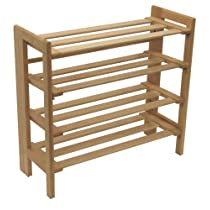 Natural Winsome Wood 4-Tier Fold-able Shoe Rack